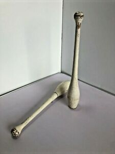 Pair of Vintage Wooden Indian Clubs. Fitness, Juggling etc