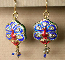 1239 / BOUCLES D'OREILLE PERCEES  EMAILLEES / PAON