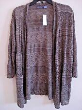 Ladies Crochet Knit Cardigan Coffee Bean Open Front  Size XL
