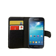 black WALLET Leather phone case with card slots Samsung Galaxy S4 mini9190 Plain