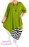 Lagenlook A-Linie Long-Shirt-Zipfel-Tunika PISTAZIE 5 Größen 44 46 48 50 52 54