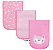 Gerber Baby Girl 3-Piece Pink Fox Burp Cloths