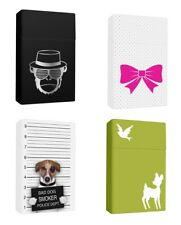 4 x Zigarettendose aus Kunststoff Zigarettenbox Schwarz Weiss Grün mit Tiermotiv