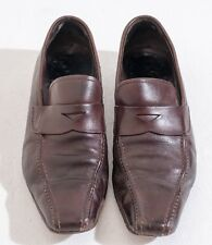 Genuine Prada Mens Brown Leather Loafers Size 8 (Style1123)