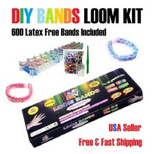 DIY Bands Loom Kit w/ 600 Colorful Bracelet Rainbow Bands Tools & Board Included