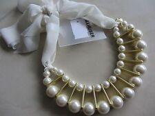Trend Luxus Colier Kette Halskette Hallhuber Perlen Offwhite Gold- Optik Neu Et.