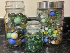 MARBLE Collection VINTAGE 390+ GLASS MARBLES LARGE AND SMALL Unusual Designs