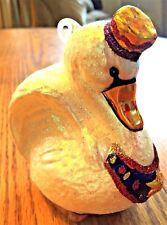 Unique White Swan Bird Blown Glass Christmas Ornament Hand Painted Excellent Con
