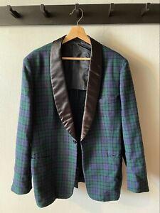 Vintage Plaid Dinner Jacket 38R Tuxedo Satin
