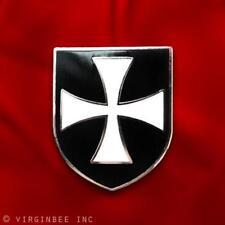 CHRISTIAN ARMY CRUSADER KNIGHTS ORDER HOSPITALLERS WHITE CROSS BLACK SHIELD PIN