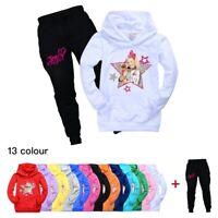 JOJO SIWA Kids Girls Trousers Suit Pocket Hoodie Top+Jogging Pants Sport Outfits