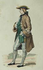 Signore in costume caccia Moda Incisione originale 19esimo