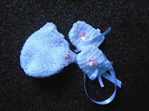 NEWBORN  WHITE  HAND CROCHET BONNET & MITTS WITH SCALLOPED EDGE.