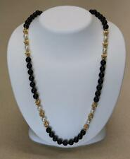Ladies Black Onyx, Cream Pearl & 14K Yellow Gold Bead Opera Strand Necklace 24""