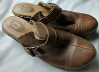 BOC Womens Brown Leather Womens Clogs With Strap Size 8 M