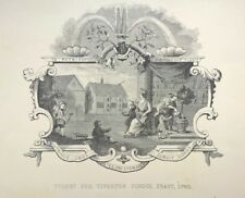 """Antique Engraving """"Ticket for Tiverton School Feast"""" 1740 After William HOGARTH"""