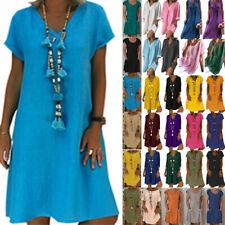 Плюс размер женские мешковатые богемное летнее платье-туника кафтан пляжный свободная туника сарафан