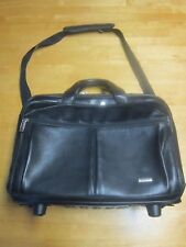 """Solo Black Leather Rolling 15"""" Laptop Case Wheeled Bag Business Computer Travel"""