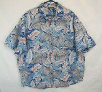 Vtg Hawaii Blues USA Made Reverse Exotic Floral Palm Jungle Print Shirt Sz XL