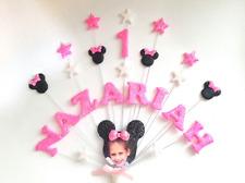 Minnie/Mickey Mouse Stile compleanno cake topper, personalizzata di foto, nome, età