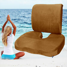Home Office Chair Memory Foam Coccyx Orthoped Seat + Back Support Lumbar Cushion