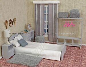 """BEDRoom Set Dolls house wooden Furniture for Barbie 1:6 scale 12"""" dolls"""