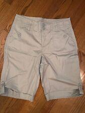 NWOT Kim Rogers Khaki Cotton Bermuda Clam Digger Shorts Pants Size 6 ❤️tb9j11