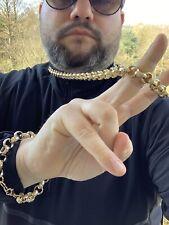 Men's Luxury 18k Gold Filled Solid Belcher Chain Necklace bracelet sets XXL