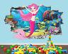 Mermaid Cute Nursery Cartoon Room Girls Smashed Vinyl Wall Decal 3D Art Stickers