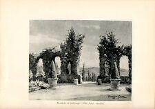 Stampa antica MOMBELLO IMBERSAGO Villa Falcò giardino Lecco 1931 Old print