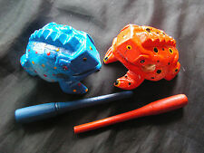 "Set of 2 red & blue 4"" Wooden Croaking Sound Frog Colorful Hand Carved Wood New"