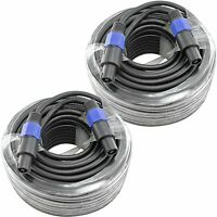2 PACK 100 ft foot feet speakon compatible pro audio speaker cables PA DJ cords
