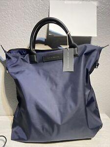 Want Les Essentiels O'Hare Italian Nylon/Leather Men's Large Blue Tote Bag