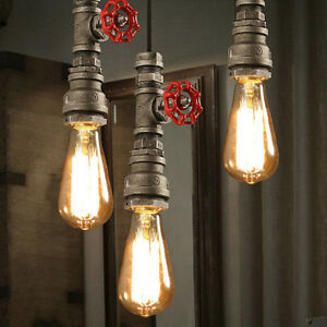 Loft Retro Industrial Iron Pipe Vintage Ceiling lights DIY Pendant Fixture Lamp