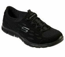 Black Women's Skechers Shoes Memory Foam Slip On Sport Casual bungee Lace 22603