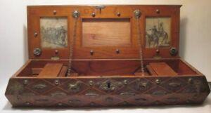 Old Wooden Folk Art Box w/ Sliding Parts & Metal Fish Dogs & Cornucopia Detail
