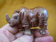 (Y-Rhi-404) red gray Rhinoceros Rhino carving gemstone Soapstone figurine Peru