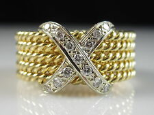 18K Diamond X Rope Ring G/VS Yellow White Gold Fine Jewelry Band Size 8.5