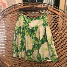 Trina Turk Los Angeles Green Floral 100% Silk Skirt Size 6