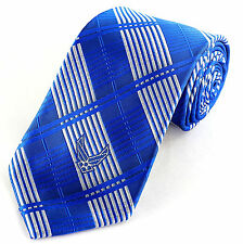 Air Force Grid Mens Necktie U.S. Military Symbol Pilot Blue Plaid Neck Tie New