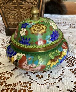 Vintage Cloisonné Trinket Box Brass Enamel Green