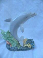 Dolphin Votive Candle Holder Ceramic Gray Fish Ocean Marine