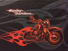 "Harley Davidson Signature Fabric Panel Flames Black/Gray Shield 21"" X 35"" New"