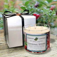 Handmade Cranberry Woods Soy Candle, AMAZING SCENT! Free Gift Box Included!