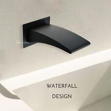 "Bath Spout Waterfall Matte Black Wall Mounted Basin Bathtub Filler G1/2"" Female"