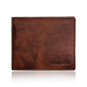 Mens 100% Genuine Leather Wallet RFID Card Holder Black Brown Gift Box UK Stock