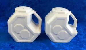 Pair of Vintage Art Deco Salt & Pepper Shakers - White - Alamo Pottery, Texas