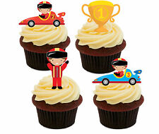 Racing Cars, Edible Cupcake Toppers, Stand-Up Fairy Cake Bun Decorations Boy