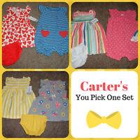 Carters Baby Girl Dress Summer 3pc Set Size Newborn 3 6 9 12 18 24 Months NWT