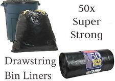 50 Super Fort Noir pour poubelle CORDON COULISSANT déchets binbag revêtements